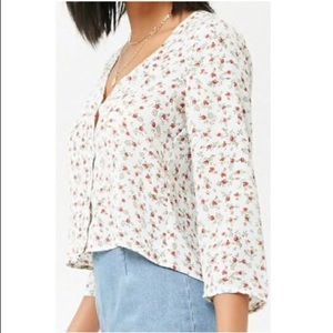 Forever 21 Floral Button-Front Shirt
